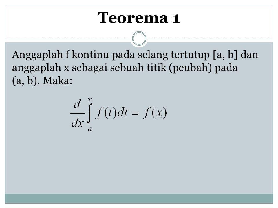 Teorema 1 Anggaplah f kontinu pada selang tertutup [a, b] dan anggaplah x sebagai sebuah titik (peubah) pada (a, b).